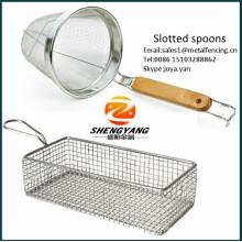 Utensílios de cozinha eco-friendly dupla malha fina filtros cestos fritar food grade aço inoxidável entalhado colher