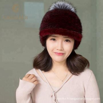 Nouveaux produits fourrure pom pom beanie chapeaux en gros