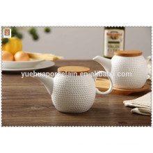 Hot sale 2015 ceramic Oil and Vinegar pot water pot with Bamboo Tray