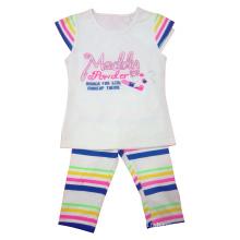 T-shirt et pantalon de fille d'enfants en gros avec imprimé (SQ-015)