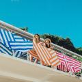 Doppelseitig Velour Wildleder rot und weiß Streifen Round Beach Towel RBT-165