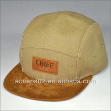 Toile 5 chapeau panneau avec patch en cuir