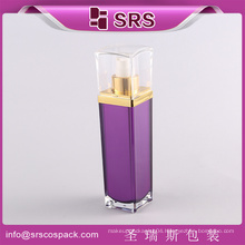 Bottle Design Luxury Purple Square Shape China Promotion Cosmetic Lotion Pump Container 30ml 50ml 80ml 120ml Plastic Bottle