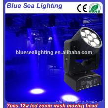Дискотека свет высокой мощности 7 * 12w 4in1 rgbw dmx Zoom Мытье балки привело движущейся головой