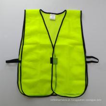 Colete de segurança em malha amarela fluorescente com fecho de velco