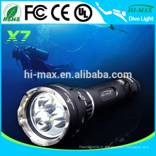 3 * cree xm-l T6 3500 lumens Interrupteur magnétique professionnel lanterne de plongée
