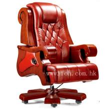 Top grado cuero genuino silla ejecutiva de madera muebles de oficina de lujo (FOHA-05)