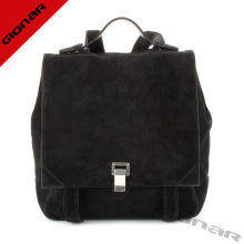 Unique Women Suede Leather Backpack Bag High Grade , Gionar Black Backpack
