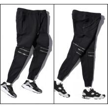 Joelho Zipper Plain Pants Casual Jodder Calças