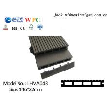 Revestimento de folhosa projetado 146 * 23mm com material composto plástico de madeira