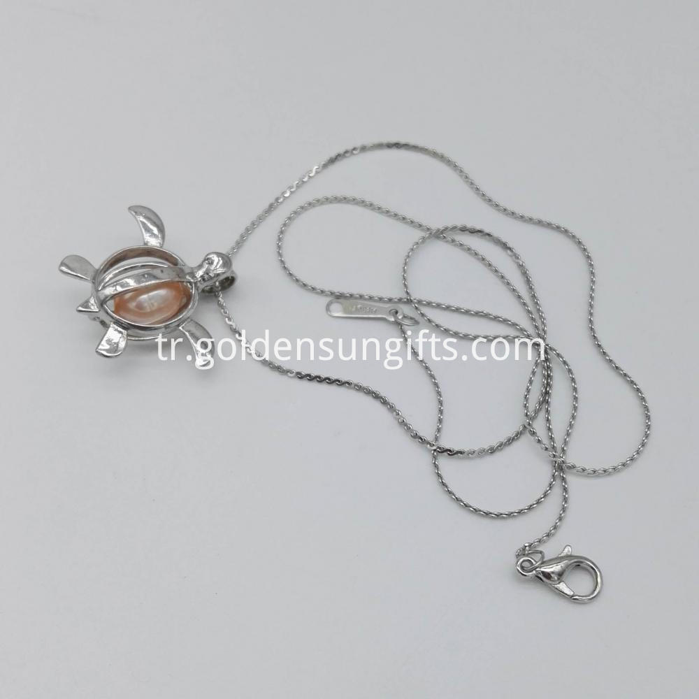 Sea Turtle Shaped Cage Pendant Necklace