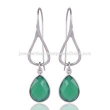 Onyx en verde sólida pendientes de plata para mujer al mejor precio