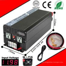 Inversor DC-AC 2000W 12VDC ou 24VDC 48VDC para 110VAC ou 220VAC Inversor de onda senoidal pura com carga AC