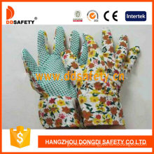Gardening Gloves. Green Dots on Palm. Flower Design Back. Band Cuff (DGB106)