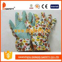 Gardening Gloves. Green Dots on Palm. Flower Design Back. Band Cuff (DGB106)