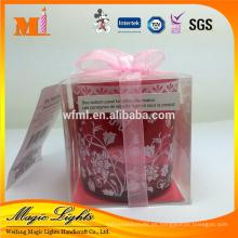 Las velas de Tealight del tenedor de cristal rojo barato del tenedor de la fabricación de la fábrica de China