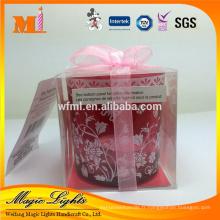 Chine Usine Fabrication bon marché Bougeoir en verre rouge Insérer bougies chauffe-plat