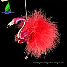 Christmas hand painted glass flamingo ornament,flamingo craft baubles ornament