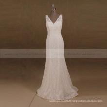 Graceful V-Neck V-Back Mermaid Soft Dece Vintage Wedding Gown