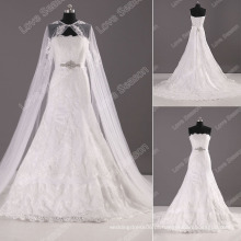 LS0113 Blining diamante sash cordão rendas vestidos de noiva de Xangai novos desenhos vestidos de manga comprida casaco de noiva vestido de noiva