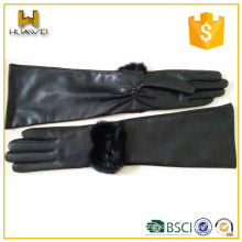 Women fashion long style leather gloves with rabbit fur