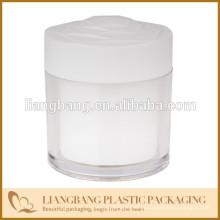 Frasco redondo e tampas, frasco cosmético com três tamanho e novo frasco acrílico do cosmético