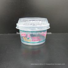 Tasses jetables en plastique claires de smoothie de la catégorie comestible 4oz / 140ml de qualité comestible avec des couvercles pour la vente en gros