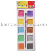 10 colors, square-shaped color cakes, simple packing