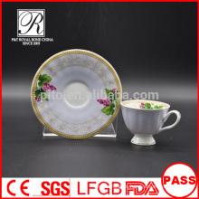 Tazas y platillos de porcelana de P & T, tazas y platillos coloridos para calcomanías