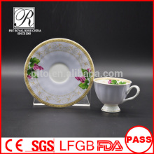 P&T porcelain coffee cups and saucers, colorful decal cups and saucers