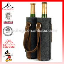 Botella de vino de fieltro doble de fieltro de cuero rústica botella de regalo de vino del hogar CustomMade