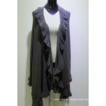 manteau de Cachemire de femmes en gros de conception nouvelle en gros, manteau long de pull de femmes de broderie