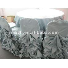 Vêtements de satin avec conception ébouriffée, couverture de table, linge de table de mariage