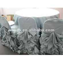 Wedding satin clothes with ruffled design,table cover,table linen