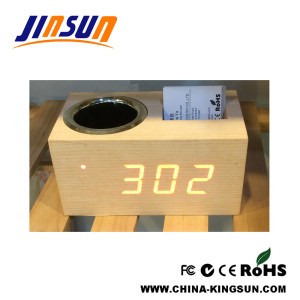Penholder With Led Alarm Clock Name Card Box