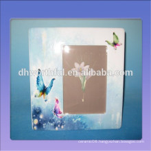Home decor ceramic photo frame with butterfly figurine