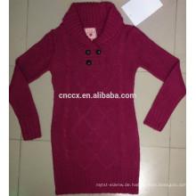 15JW1113 Frau Tunika Kabel stricken Pullover Kleid