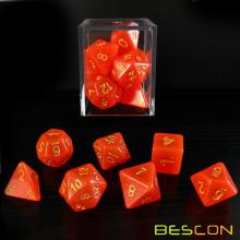 Bescon Intensive Glitter DND Dice 7pcs Set ROYAL RED, Novelty Glitter RPG Dice Set d4 d6 d8 d10 d12 d20 d%, Brick Box Packaging