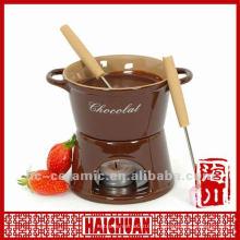 Set de fondue de chocolate de cerámica, fondue de queso