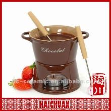 Ensemble de fondue au chocolat en céramique, fondue au fromage
