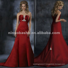Fabulous ruched beading bust satin A-line wedding dress/bridal gown
