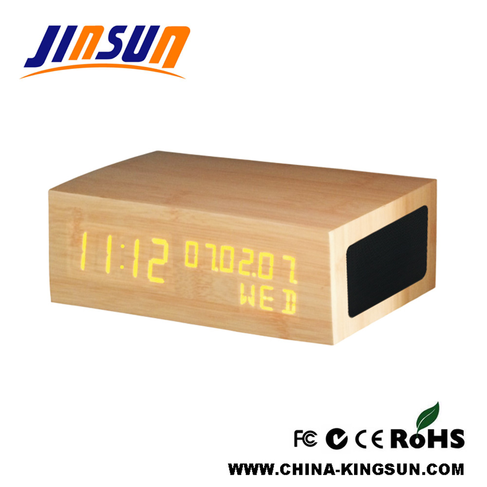 Wooden Bluetooth Speaker With Led Alarm Clock
