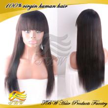 2015 melhor venda virgem cabelo peruca de cabelo em linha reta de seda mongol