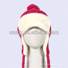 PK17ST337 ladies knit bombín de invierno sombrero con piel caliente