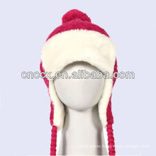 PK17ST337 ladies fashion knit bomber winter hat with warm fur