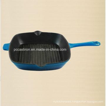 China Cast Iron Frypan with Enamel Finishing in 26cm Dia