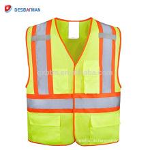 Hohe Sichtbarkeit 100% Polyester Mesh Heavy Duty Sicherheitsweste Neon Gelb Reflektierende Verkehr Arbeit Weste Multi Taschen