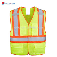 High Visibility 100% Polyester Mesh Heavy Duty Safety Vest Neon Yellow Reflective Traffic Work Waistcoat Multi Pockets