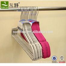 Anti-Rutsch-Kunststoff-Samt beflockte Kleiderbügel