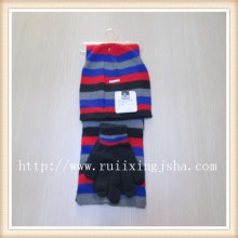 men's strip knitted hat and scarf set